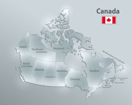 Canada map and flag, administrative division, separates regions and names individual region, design glass card 3D vector