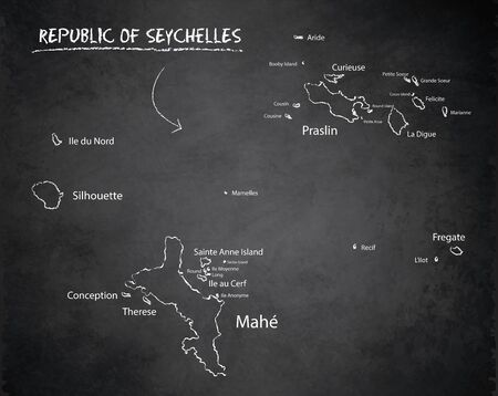 Seychelles map with names of Seychelles islands,  design card blackboard chalkboard vector