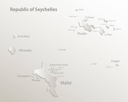Seychelles map with names of Seychelles islands, effect 3D paper natural vector