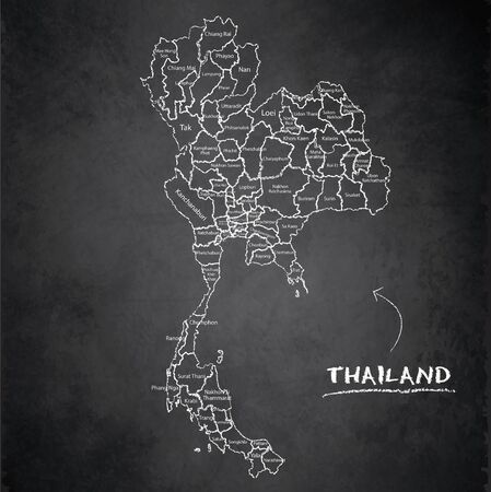 Thailand map administrative division separates regions and names individual region, design card blackboard chalkboard vector