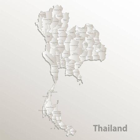 Thailand map administrative division, separates regions and names individual region, card paper 3D natural vector Ilustração