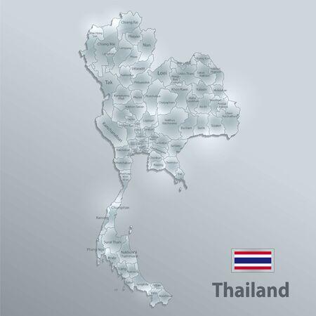 Thailand map and flag, administrative division, separates regions and names individual region, design glass card 3D vector Ilustração