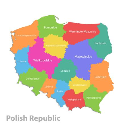 Poland map, administrative division Polish Republic, separate individual states with state names, color map isolated on white background vector