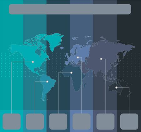 Infographics World maps of continents colors stripes blue green background blank Stockfoto