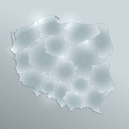 Poland map separates regions and names individual regions, design glass card 3D blank raster