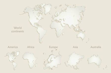 World continents map, America, Europe, Africa, Asia, Australia, old paper vector Stock Illustratie