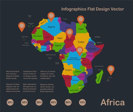 Infographics Africa map, flat design colors, with names of individual states and islands,  blue background with orange points vector