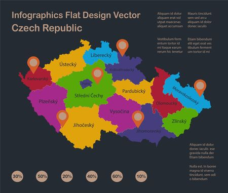 Infographics Czech Republic map, flat design colors, with names of individual states, blue background with orange points vector