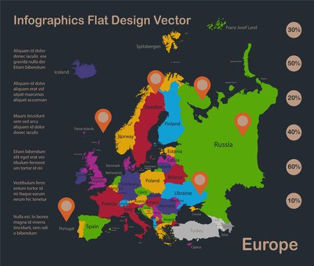 Infographics Europe map, flat design colors, with names of individual states, blue background with orange points vector