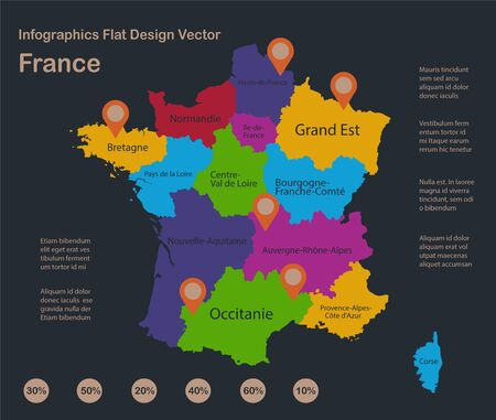 Infographics France map, flat design colors, with names of individual states, blue background with orange points vector
