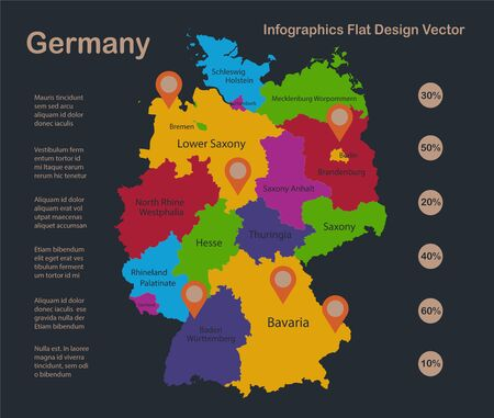 Infographics Germany map, flat design colors, with names of individual states and islands,  blue background with orange points vector Ilustracja