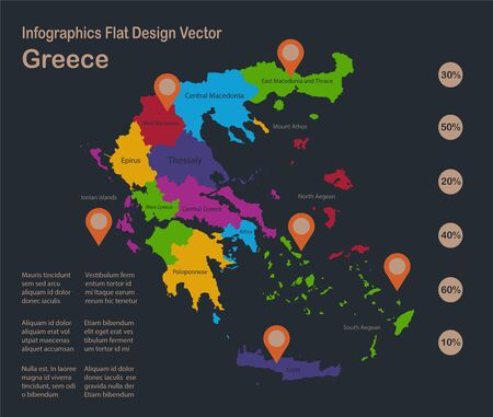 Infographics Greece map, flat design colors, with names of individual states, blue background with orange points vector