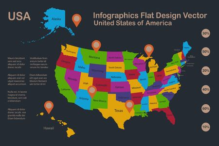 Infographics USA with Alaska and Hawaii map, flat design colors, with names of individual states and islands,  blue background with orange points vector