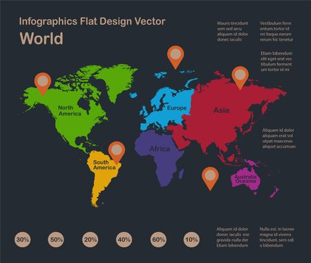Infographics World map, flat design colors, with names of individual states, blue background with orange points vector Ilustracja