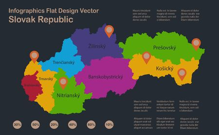 Infographics Slovak Republic map, flat design colors, Slovakia with names of individual administrative division, blue background with orange points vector Stock Illustratie