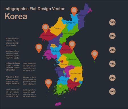 Infographics Korea Republic map, flat design colors, with names of individual administrative division, blue background with orange points vector