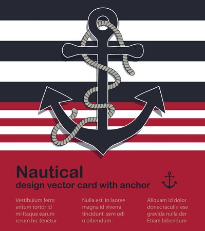 Nautical design vector card with marine anchor and rope Stock Illustratie