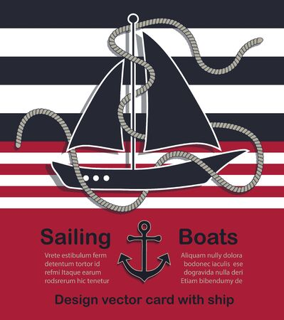 Nautical design vector card with sailing boat and rope Stock Illustratie