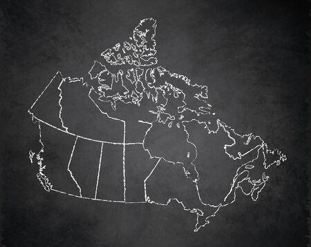 Canada map administrative division, separates regions, individual region, design card blackboard chalkboard blank raster Stockfoto