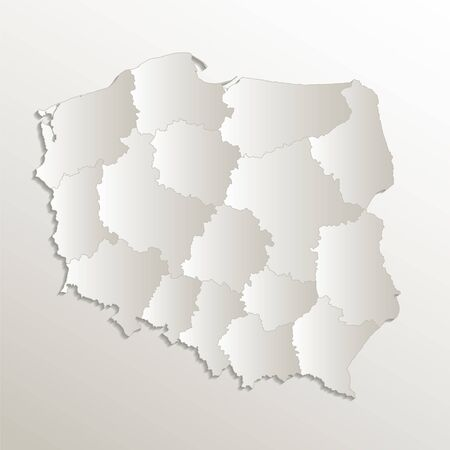 Poland map separates regions and names individual region, card paper 3D natural blank raster