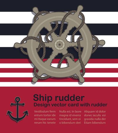 Nautical design vector card with ship rudder and rope Stock Illustratie