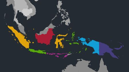 Infographics Indonesia map, flat design colors, with names of individual administrative division and islands,  blue background with orange points blank