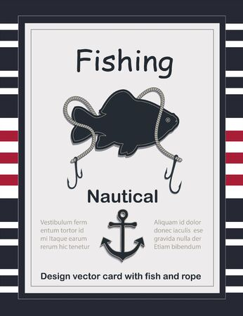 Fishing nautical card template vector with fish and rope