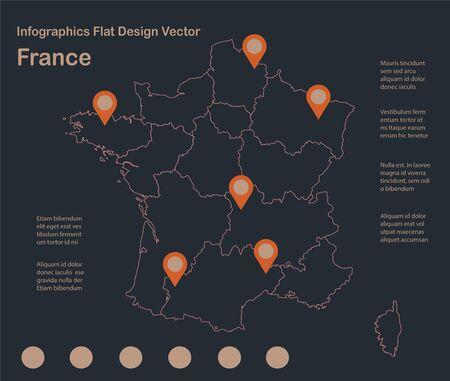 Infographics France map outline, flat design, color blue orange vector Stock Illustratie