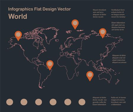 Infographics World map outline, flat design, color blue orange vector