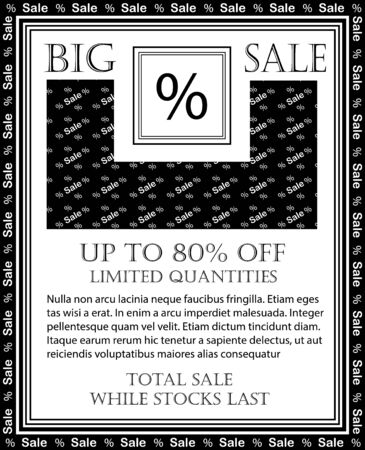 Discount and sale, background with percent symbol, exclusive card for total big sale, with lettering while stocks last and limited quantities vector