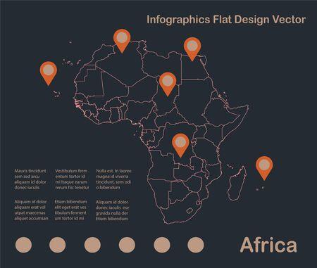 Infographics Africa map outline, flat design, color blue orange vector Stock Illustratie