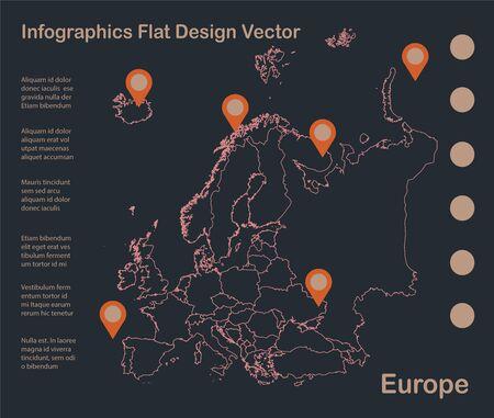 Infographics Europe map outline, flat design, color blue orange vector
