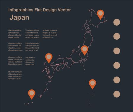 Infographics Japan map outline, flat design, color blue orange vector