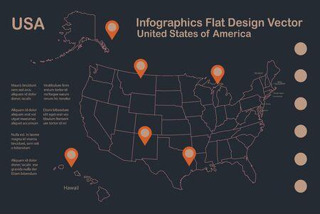 Infographics USA with Alaska and Hawaii map outline, flat design, color blue orange vector Stock Illustratie