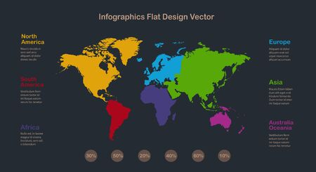 Infographics World maps with individual continents and labels with names, on a dark background vector Stock Illustratie