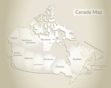 Canada map, administrative division with names, old paper background vector