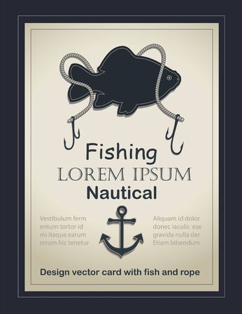 Fishing nautical card old paper template vector with fish and rope Stock Illustratie