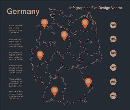 Infographics Germany map outline, flat design, color blue orange vector Stock Illustratie