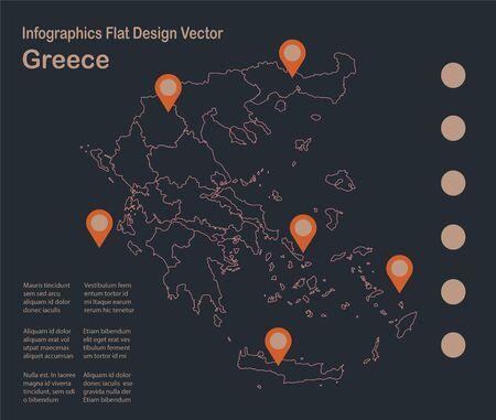 Infographics Greece map outline, flat design, color blue orange vector