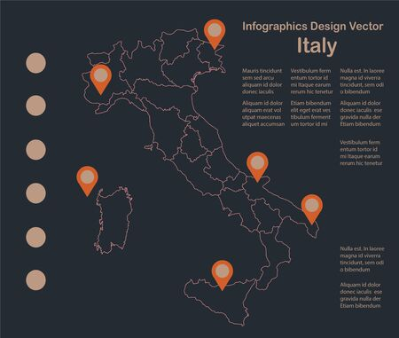 Infographics Italy map outline, flat design, administrative division vector Stock Illustratie