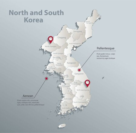 Korea map, north and south, administrative division with names, blue white card paper 3D vector