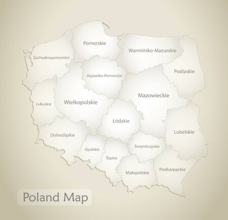 Poland map, administrative division with names, old paper background vector