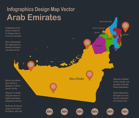 Infographics Arab Emirates map with names of individual administrative division, blue background with orange points vector