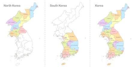 Map of Korea, North and South Korea divided to administrative divisions, coloring book vector