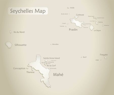 Seychelles map, islands with names, old paper background vector Stock Illustratie