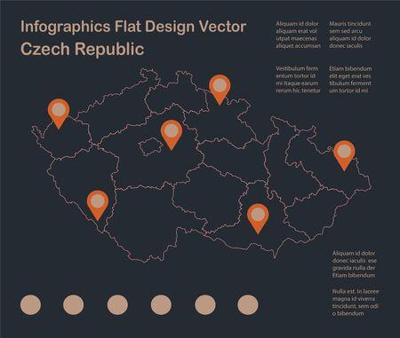 Infographics Czech Republic map outline, flat design, color blue orange vector Ilustração