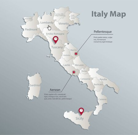 Italy map, administrative division with names, blue white card paper 3D vector Stock Illustratie
