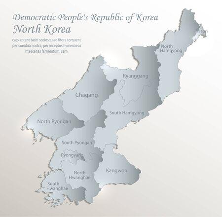 Mapa de Corea del Norte, República Popular Democrática de Corea, división administrativa con nombres, vector 3D de papel de tarjeta azul blanco