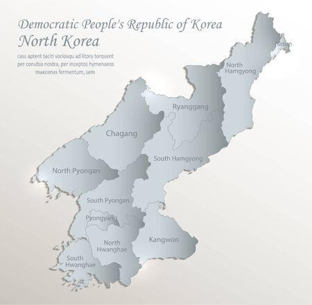 North Korea map, Democratic Peoples Republic of Korea, administrative division with names, white blue card paper 3D vector