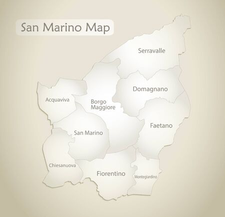 San Marino map, administrative division with names, old paper background vector